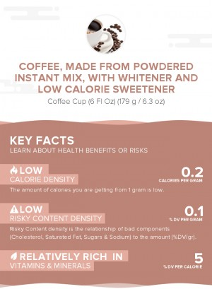 Coffee, made from powdered instant mix, with whitener and low calorie sweetener