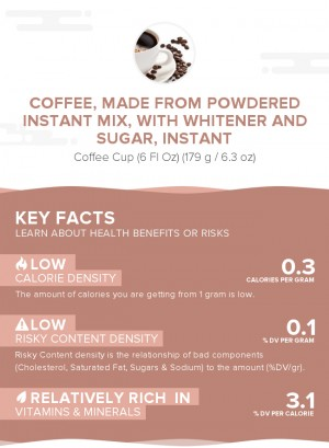 Coffee, made from powdered instant mix, with whitener and sugar, instant