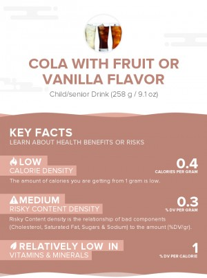 Cola with fruit or vanilla flavor