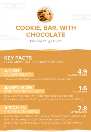 Cookie, bar, with chocolate