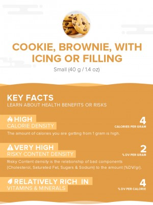 Cookie, brownie, with icing or filling