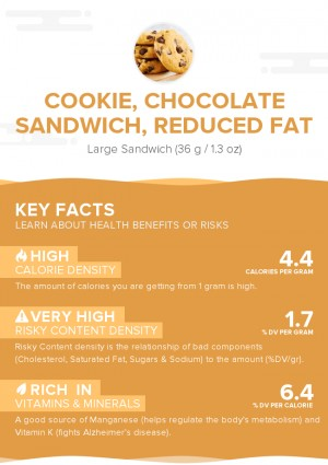 Cookie, chocolate sandwich, reduced fat