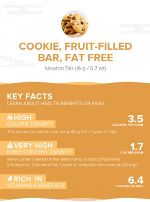 Cookie, fruit-filled bar, fat free
