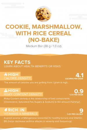 Cookie, marshmallow, with rice cereal (no-bake)