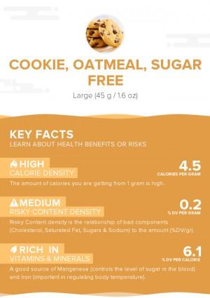 Cookie, oatmeal, sugar free