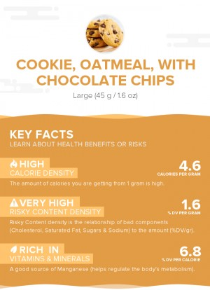 Cookie, oatmeal, with chocolate chips