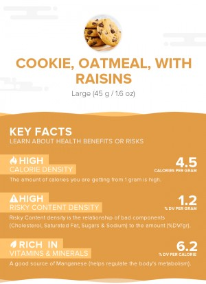 Cookie, oatmeal, with raisins