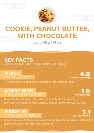 Cookie, peanut butter, with chocolate
