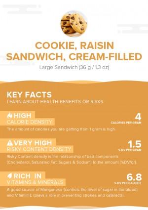 Cookie, raisin sandwich, cream-filled