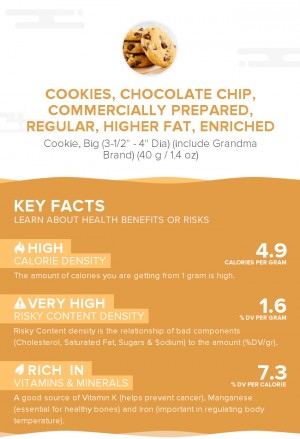 Cookies, chocolate chip, commercially prepared, regular, higher fat, enriched
