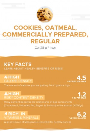Cookies, oatmeal, commercially prepared, regular