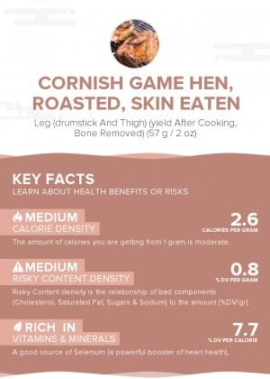 Cornish game hen, roasted, skin eaten
