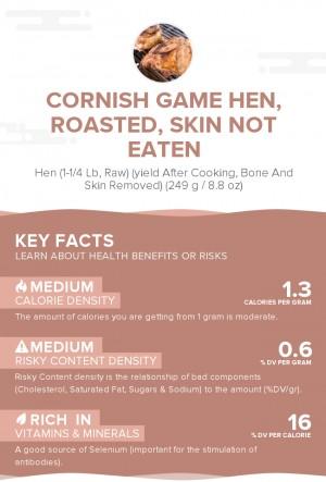 Cornish game hen, roasted, skin not eaten