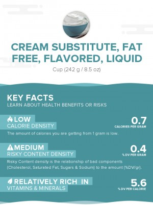 Cream substitute, fat free, flavored, liquid