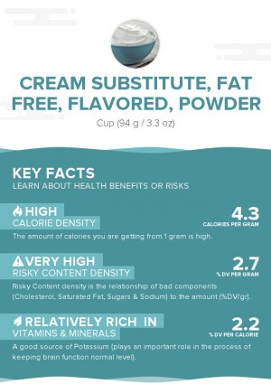 Cream substitute, fat free, flavored, powder