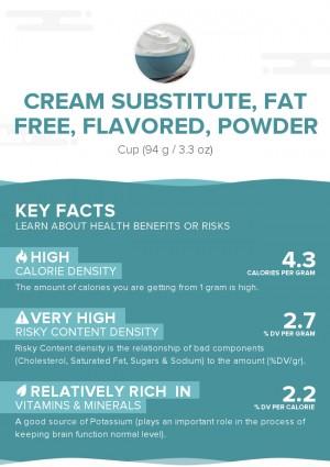 Cream substitute, fat free, flavored, powder