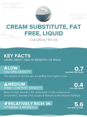 Cream substitute, fat free, liquid