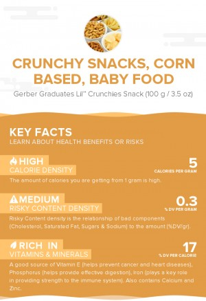 Crunchy snacks, corn based, baby food