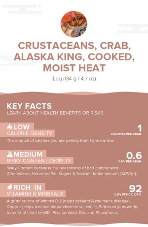 Crustaceans, crab, alaska king, cooked, moist heat