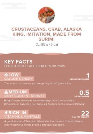 Crustaceans, crab, alaska king, imitation, made from surimi
