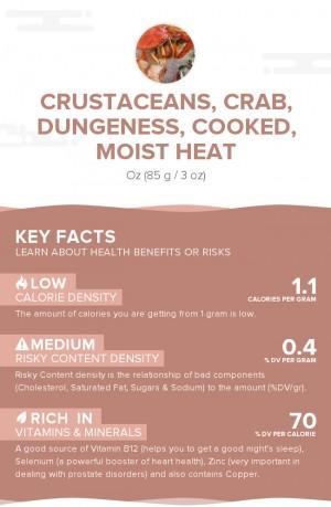Crustaceans, crab, dungeness, cooked, moist heat