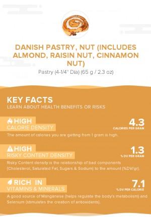 Danish pastry, nut (includes almond, raisin nut, cinnamon nut)