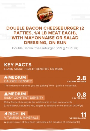 Double bacon cheeseburger (2 patties, 1/4 lb meat each), with mayonnaise or salad dressing, on bun