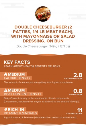 Double cheeseburger (2 patties, 1/4 lb meat each), with mayonnaise or salad dressing, on bun