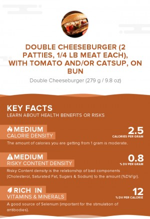 Double cheeseburger (2 patties, 1/4 lb meat each), with tomato and/or catsup, on bun