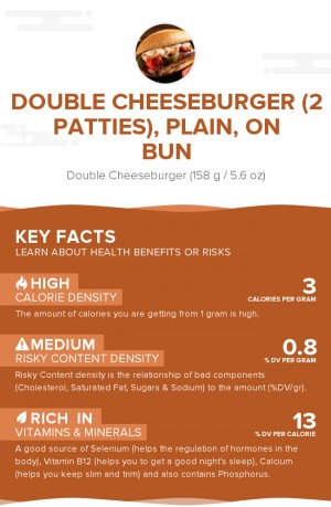 Double cheeseburger (2 patties), plain, on bun
