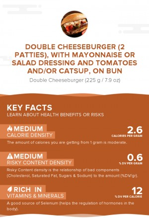 Double cheeseburger (2 patties), with mayonnaise or salad dressing and tomatoes and/or catsup, on bun