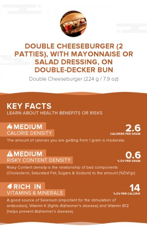 Double cheeseburger (2 patties), with mayonnaise or salad dressing, on double-decker bun