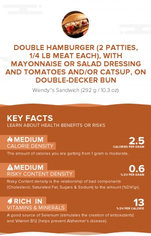 Double hamburger (2 patties, 1/4 lb meat each), with mayonnaise or salad dressing and tomatoes and/or catsup, on double-decker bun
