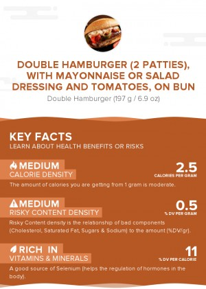 Double hamburger (2 patties), with mayonnaise or salad dressing and tomatoes, on bun