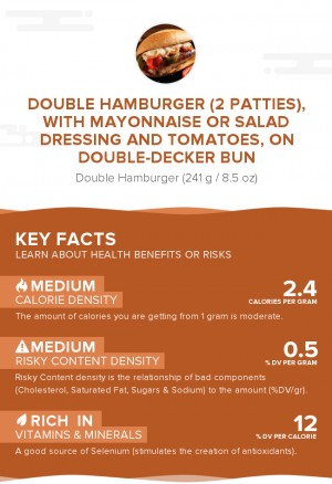 Double hamburger (2 patties), with mayonnaise or salad dressing and tomatoes, on double-decker bun