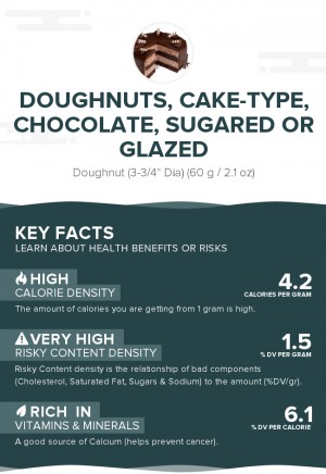 Doughnuts, cake-type, chocolate, sugared or glazed
