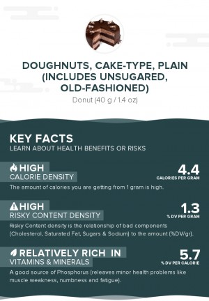 Doughnuts, cake-type, plain (includes unsugared, old-fashioned)