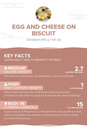 Egg and cheese on biscuit