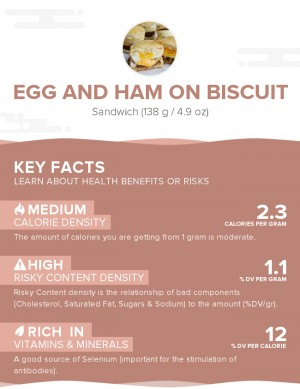 Egg and ham on biscuit
