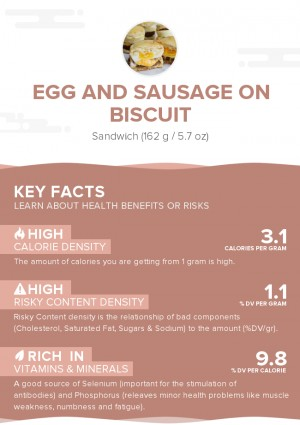 Egg and sausage on biscuit