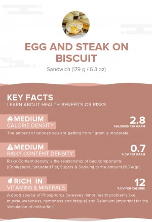 Egg and steak on biscuit