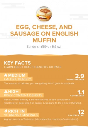 Egg, cheese, and sausage on English muffin