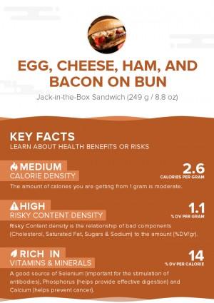 Egg, cheese, ham, and bacon on bun