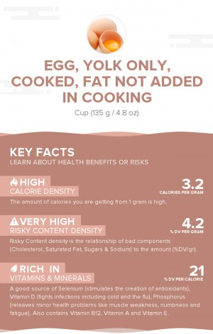 Egg, yolk only, cooked, fat not added in cooking