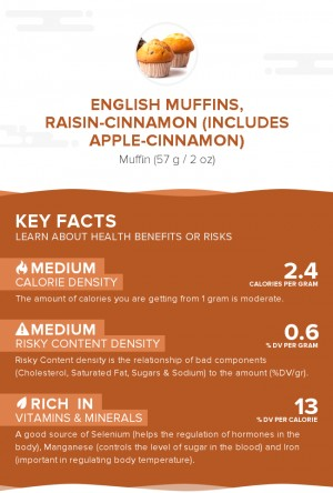 English muffins, raisin-cinnamon (includes apple-cinnamon)