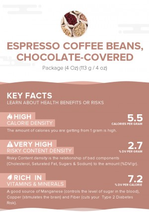 Espresso coffee beans, chocolate-covered