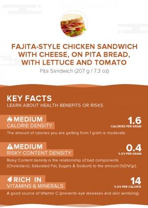 Fajita-style chicken sandwich with cheese, on pita bread, with lettuce and tomato