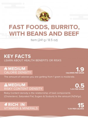 Fast foods, burrito, with beans and beef
