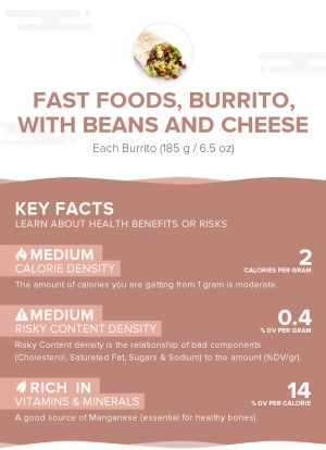 Fast foods, burrito, with beans and cheese