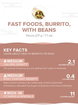 Fast foods, burrito, with beans